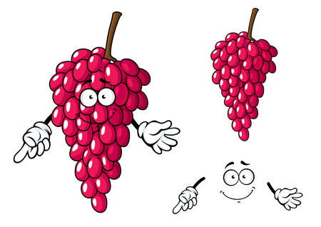elongated: Sweet cartoon bunch of dark red grape fruit character with elongated shiny berries isolated on white background