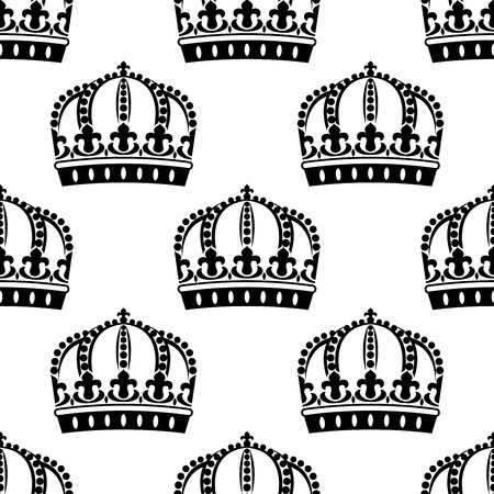 lys: Seamless royal crowns in victorian style pattern decorated traditional fleur de lys ornaments on white background for retro or heraldic design