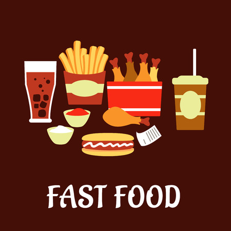 restaurant bill: Fast food snacks and drinks set in flat style with takeaway french fries, hot dog, fried chicken legs, sauce cups, soda, coffee and bill on dark brown background Illustration