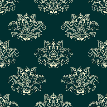 Seamless paisley stylized floral pattern with abstract white silhouette of dense flower buds surrounded by curved leaflets and tendril swirls on dark green background for wallpaper or textile design