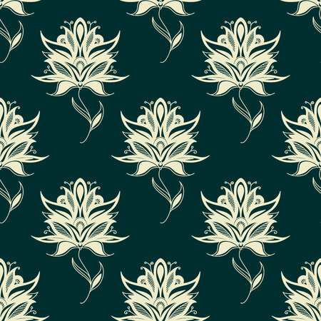 twining: Seamless oriental pattern with paisley white flowers on twining stems with pointed petals and curly leaf tips on dark green background for textile or interior design Illustration