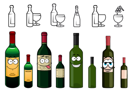 french wine: Happy cartoon wine bottles characters with colorful protective foils in the tops and various labels on white background including bottle and glass silhouettes along the top edge