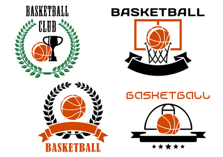 Basketball club symbols or emblems templates with orange basketball balls, part of sports court, basket, trophy cups,laurel wreaths, blank ribbon banners and stars Vector