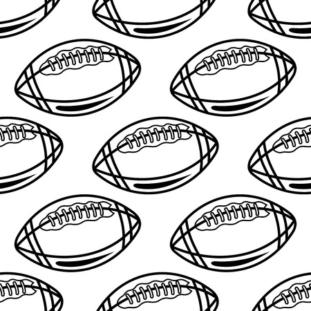 pointed to: Seamless pattern of outline rugby balls with pointed ends and lacing on white background for textile or sports design