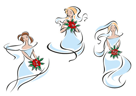 Romantic beautiful brides in outline flowing lines showing pretty girls in blue delicate wedding dresses with bouquets of red flowers for wedding ceremony or bridal shower invitation design Vector