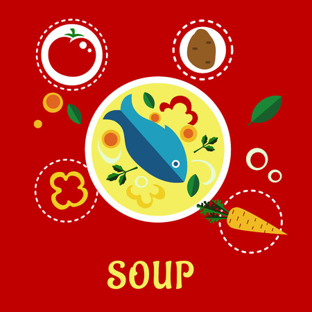 bell tomato: Cooking fish soup with fish, vegetables and herbs surrounded ingredient icons including whole and sliced tomato, potato, bell pepper, onion, carrot and parsley. Flat style