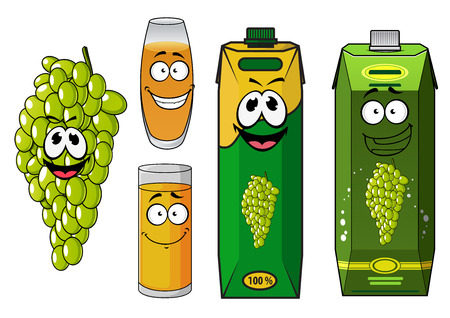 grape juice: Natural grape juice cartoon characters with funny smiling glasses, yellow drinks, bunch of green grape fruit and bright juice cartons for beverage and drink design