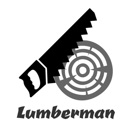 toothed: Hand saw black icon silhouette with a sharp toothed edge cutting wood log isolated on white background with caption Lumberman