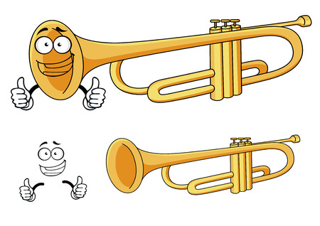 wind instrument: Happy smiling brass trumpet cartoon character depicting a rounded wind musical instrument with three piston valves for classical orchestra or music design Illustration