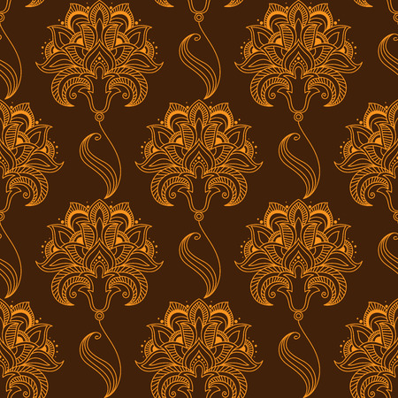 sepals: Oriental stylized orange flourish seamless pattern on brown background with luxuriant paisley flowers, carved drop shaped pointed petals and oblique sepals for textile or lace embellishment design