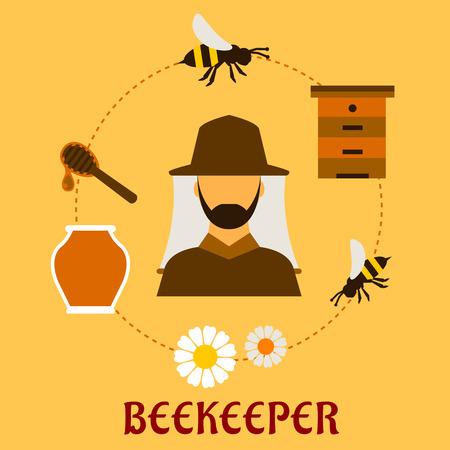 abejas panal: Apicultura concepto con beekeper en sombrero y apícolas símbolos que lo rodean, incluyendo tarro de la miel, las abejas que vuelan, flores, colmena de madera y el balancín con la gota de miel líquida Vectores