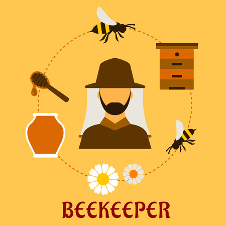 apiarist: Beekeeping concept with beekeper in hat and apiculture symbols around him including honey jar, flying bees, flowers, wooden beehive and dipper with drop of liquid honey Illustration