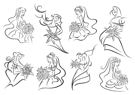Brides and bridesmaids in various positions wearing elegant wedding outfits with bouquets of flowers in hands, may be use in  invitation or bridal shop design. Outline style Vector
