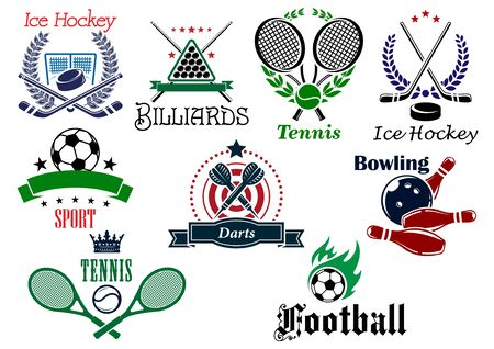 individual sports: Team and individual sports heraldic emblems with game equipments and design elements for football, soccer, billiards, ice hockey, tennis, bowling and darts
