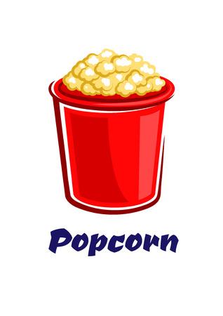 ядра: Свежий хрустящий попкорн Popped в большом красной ведро в мультяшном стиле на белом фоне с надписью Попкорн для вынос или быстрого питания дизайн кафе Иллюстрация