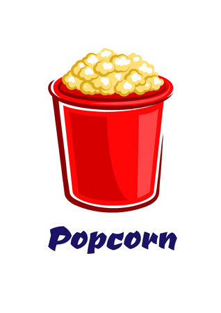 popped: Fresh popped crunchy popcorn in a big red bucket in cartoon style isolated on white background with caption Popcorn for takeaway or fast food cafe design