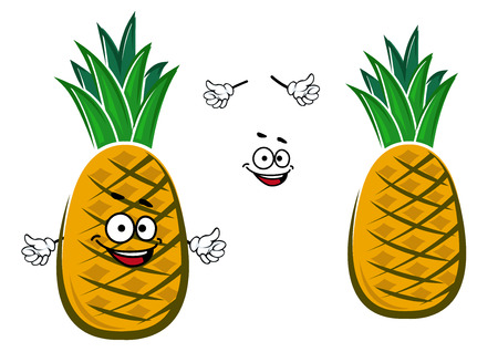 tuft: Ripe cartoon yellow tropical pineapple fruit character with green tuft of short tight leaves on the top for healthy nutrition or dessert  design