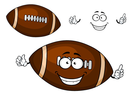 lacing: Rugby or american football cartoon brown ball character with white strips on pointed ends and lacing for sporting mascot design Illustration