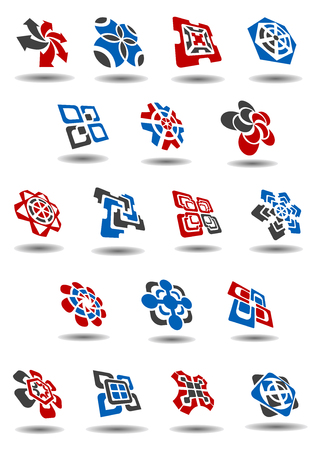 Abstract business and technology emblems or icons design templates with compositions of circles, arrows, squares and crosses in gray, red and blue colors with shadows Vector