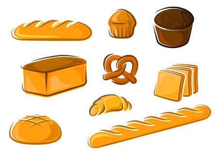 rye bread: Fresh bakery products in cartoon style including sweet cake, croissant, wheat and rye bread loaves, pretzel, sliced toast bread and baguette for baker shop or food market design
