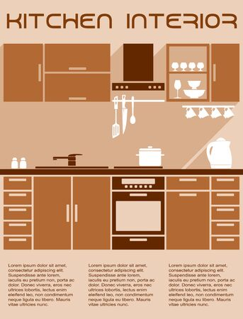 residential zone: Kitchen interior design in warm brown and beige colors with work zone, furniture, appliance, utensils, accessories and text layout below in flat style with long shadow Illustration