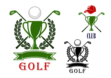 Golf club or tournament emblem and badges design templates with trophy cups, crossed clubs, balls, laurel wreath and blank ribbon banner and the second variant with peaked cap on the top Vettoriali