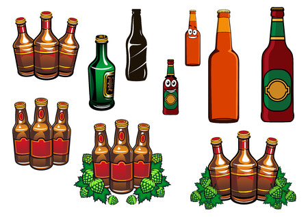 Beer bottles set with cartoon green and brown glass bottles of beer, hop, blank labels and funny smiling faces for alcohol beverage design Vector