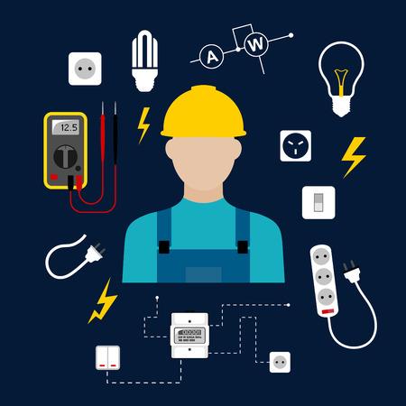 Concepto electricista profesional con el hombre eléctrico en casco amarillo con suministros eléctricos para el hogar, herramientas eléctricas y equipos de símbolos sobre fondo azul oscuro para la profesión o industria del diseño Foto de archivo - 39206433