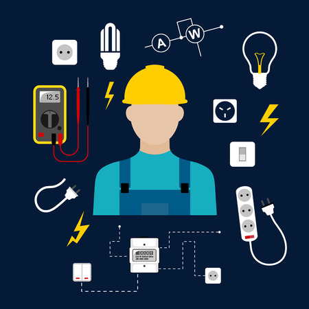 Professional electrician concept with electric man in yellow hard hat with electrical household supplies, electric tools and equipments symbols on dark blue background for profession or industry design