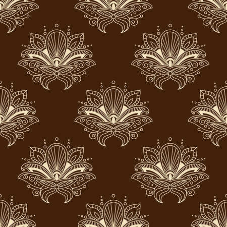 wavy fabric: Indian floral seamless pattern on brown background with stylized yellow flowers with teardrop shaped petals decorated wavy paisley ornament for wallpaper or fabric design