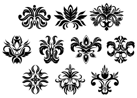 dainty: Retro ornamental floral elements of black flowers with dainty inflorescences and lush foliage isolated on white background