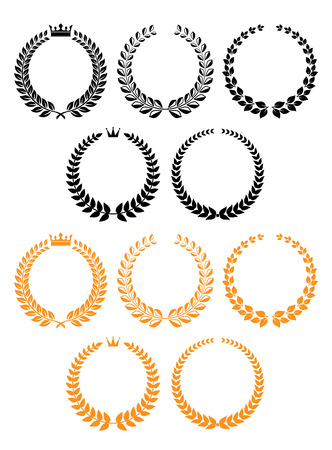 award winning: Traditional laurel wreaths in golden and black colors with crowns on the tops, for awards ceremony or sporting competition design Illustration