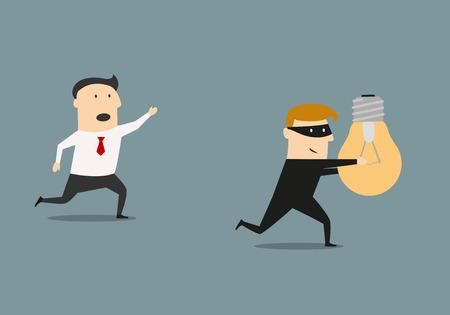 Un ladrón en un traje negro y la máscara de robar una idea bombilla del hombre de negocios, de la propiedad intelectual o el diseño de concepto piratería negocio