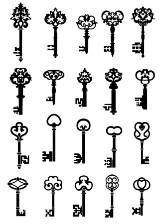 Black silhouettes of vintage keys with intricate bits and ornate bows, decorated with floral ornamental curlicues and isolated on white background