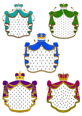 Colorful ceremonial royal mantles trimmed white fur with yellow fringe and golden crowns inlaid gems and pearls, for heraldic emblem or coat of arms design
