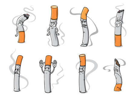 Cartoon smoldering cigarette characters with unhappy, angry and sad faces isolated on white background for healthcare concept design