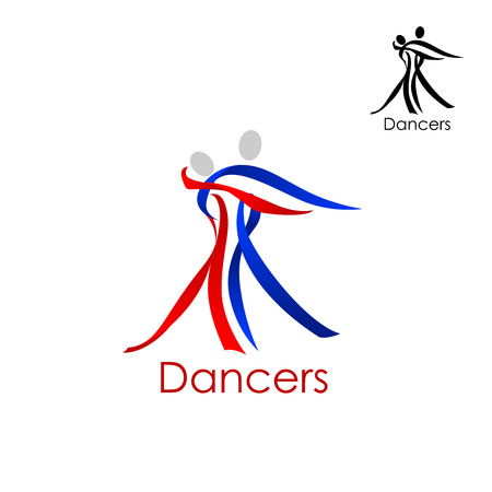 Dancing couple logo ou un modèle abstrait emblème avec homme et femme silhouettes composées de rubans rouges et bleus Logo