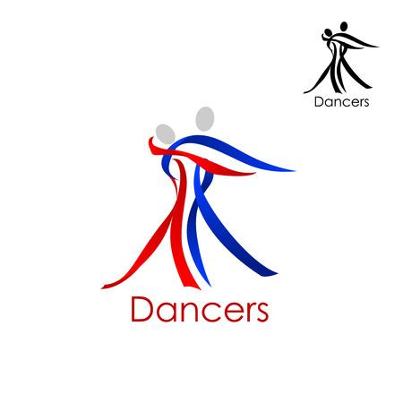 Dansend paar abstracte logo of embleem sjabloon met man en vrouw silhouetten samengesteld uit rode en blauwe linten Stock Illustratie