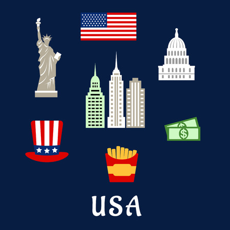 congress: American symbols travel flat concept depicting national flag of USA, statue of Liberty, Capitol building, skyscrapers, star and stripes hat, dollars, fast food box with french fries