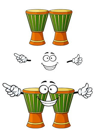 djembe: African wooden djembe drums cartoon characters with green rope tension area and happy smiling face for art or music band design