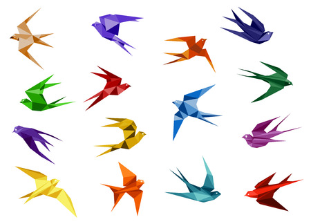 Colorful origami paper swallow birds in flight isolated on white background for logo or emblem design template