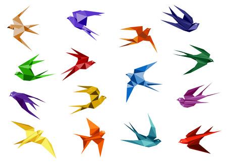 Pássaros de andorinha de papel origami colorido em vôo isolado no fundo branco para o modelo de design de logotipo ou emblema