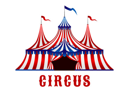 Vintage red striped circus tent in red, blue and white colors with flags on the top and stars over the entrance, for carnival or entertainment design Illustration