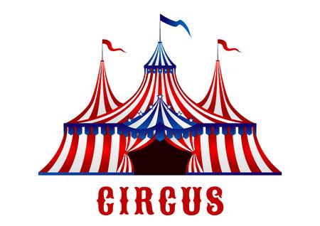Vintage czerwone paski namiot cyrkowy w czerwonych, niebieskich i białych kolorach z flagami na górze i gwiazd nad wejściem, karnawałowe lub rozrywki projektu