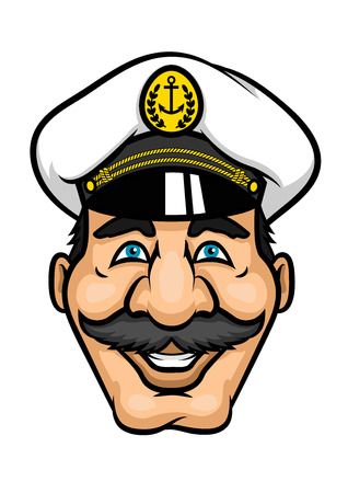 captain cap: Cheerful captain or sailor character with moustaches and white cap for nautical or marine design
