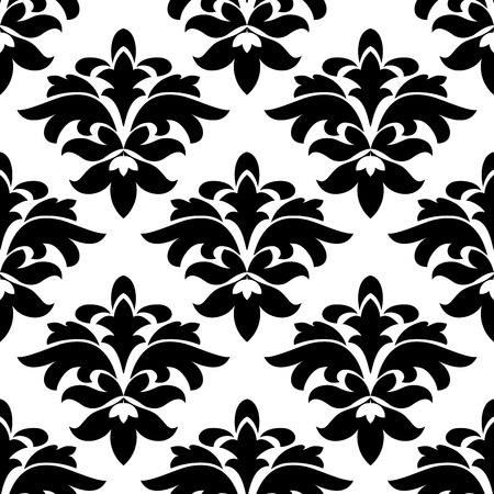 Black and white vintage floral arabesque seamless pattern with damask flowers, for interior or textile design