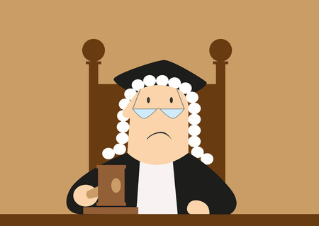 Sędzia w perukę, okulary i walenie młotkiem w płaszcz i sprawia, że werdykt sali sądowej, na niskie i sprawiedliwości koncepcji projektu, stylu cartoon płaskim