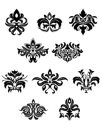embellishments: Black floral embellishments and design elements in retro medieval style for design aand ornate Illustration