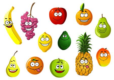 Colorido feliz sonriente de dibujos animados frutas personajes con plátano, uva, manzana, naranja, pera, piña, limón, aguacate, albaricoque y mango Ilustración de vector