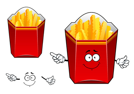 crisp: Takeaway cardboard cartons of crisp golden French fries, one with a happy face and arms, the second without, for fast food design